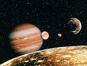 Galilean Moons Posters - Jupiter And The Galilean Moons Seen From Callisto Poster by