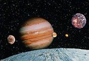 Galilean Moons Posters - Jupiter And The Galilean Moons Seen From Leda Poster by