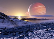Gas Giant Posters - Jupiter From Europa, Artwork Poster by Detlev Van Ravenswaay