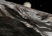 Snow-covered Landscape Photo Prints - Jupiter From Ganymede, Artwork Print by Detlev Van Ravenswaay