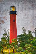Jupiter Beach Posters - Jupiter Lighthouse Poster by Debra and Dave Vanderlaan