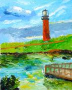 Florida Waterscape Originals - Jupiter Lighthouse Florida from Water by Julie Shen