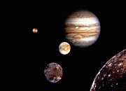 Galilean Moons Posters - Jupiter System Montage Poster by Stocktrek Images
