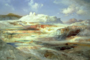 Yellowstone Posters - Jupiter Terrace Poster by Thomas Moran