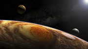 Giants Posters - Jupiters Moons Io And Europa Hover Poster by Steven Hobbs