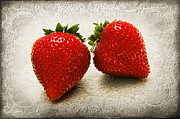 Juicy Strawberries Metal Prints - Just 2 Classic Berries Metal Print by Andee Photography