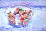 Strawberry Drawings Posters - Just a Bowl of Berries Poster by Jan Bennicoff