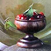 Wooden Bowl Paintings - Just a bowl of cherries by Anke Wheeler