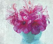 Blue Vase Metal Prints - Just a Bowl of Flowers Metal Print by Rebecca Cozart
