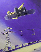 Snowboarding Paintings - Just an Air by Matthew Stennett