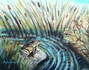 Cattail Paintings - Just Another Day At The Pond by Shana Rowe