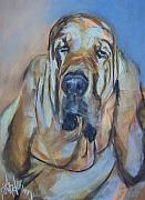 Dog Portraits Pastels Prints - Just Another Magic Bloodhound Print by Debbie Anderson