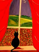 Surreal Cat Landscape Posters - Just Another Poppy Day Poster by Rusty Woodward Gladdish