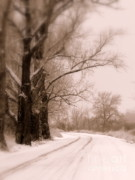 Snowy Road Prints - Just Around the Bend  Print by Carol Groenen