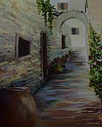Cobblestone Painting Prints - Just Around the Corner Print by Joanne Smoley