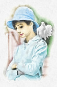 Audrey Hepburn Framed Prints - Just Audrey Framed Print by Mo T