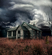 Haunted House Digital Art Metal Prints - Just before the Storm Metal Print by Aimelle