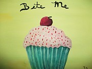 Cup Cake Art Originals - Just Bite Me by Rebecca Bell