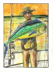 Fishing Pastels Posters - Just Caught The One Poster by Robert Wolverton Jr