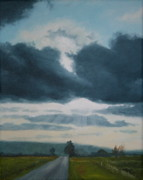 Farmland Painting Originals - Just Down the Road by Jennifer Batey
