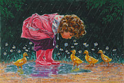 Puddle Painting Prints - Just Ducky Print by Richard De Wolfe