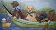 Puppies Pastels Framed Prints - Just Ducky Framed Print by Teresa LeClerc