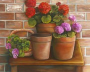 Terra Painting Originals - Just Geraniums by Marlene Book