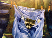 Raccoon Paintings - Just Hanging Around by Thomas Luca