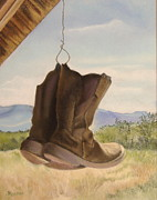 Boots Pastels Posters - Just Hanging Out Poster by Denise Locke