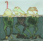 Amphibians Mixed Media Framed Prints - Just Hanging Framed Print by Peggy Wilson