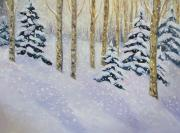 Skiing Prints Painting Originals - Just Like Yesterday by Zanobia Shalks