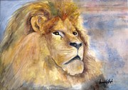 Just Painting Originals - Just Lion Around by Gwendolyn Leigh