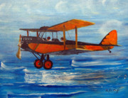 Biplane Paintings - Just Off the Water by Richard Le Page