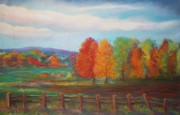 Autumn Prints Pastels Posters - Just Over Cow Path Hill Poster by Liz Evensen