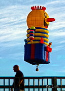 Funny Prints - Just passing through  Hot Air Balloon Print by Bob Orsillo