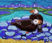 Puffins Posters - Just Puffin Around Poster by Julie Bourbeau