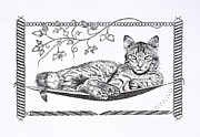 Moggy Posters - Just Relaxing Poster by Malc McHugh