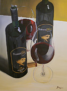 Wine Bottle Paintings - Just The 2 Of Us by Brien Cole