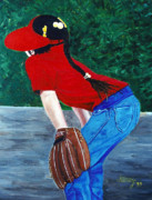 Baseball Glove Paintings - Just try to Hit it by me by JoeRay Kelley