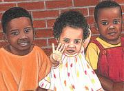African-american Pastels - Just Us Three by Paula  Parker