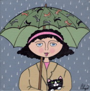 Olga Paintings - Just Walkin In The Rain by Susan Olga Linville