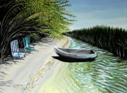Green Boat Prints - Just You and I Print by Elizabeth Robinette Tyndall