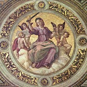 Ceiling Paintings - Justice - 1509-11 by Raphael Sanzio de Urbino