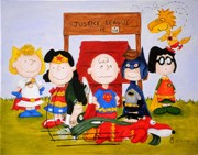Peanuts Paintings - Justice League is In by Al  Molina