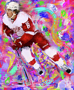 Hockey Painting Prints - Justin Abdelkader Print by Donald Pavlica