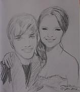 Justin And Selena Print by Amanda Li