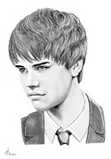 People Drawings - Justin Beiber by Murphy Elliott