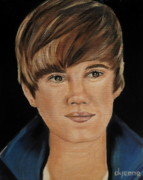 Famous Faces Painting Originals - Justin Bieber  by Dyanne Parker