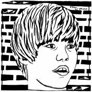 Singer Mixed Media Originals - Justin Bieber Maze Portrait by Yonatan Frimer Maze Artist