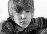 Justin Bieber Drawing Framed Prints - Justin Bieber Framed Print by Nat Morley